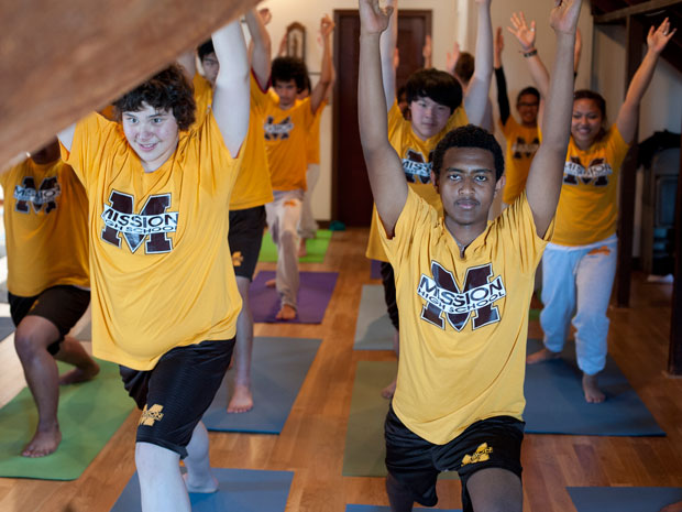 Mission High Students practicing Yoga at Integral Yoga Institute