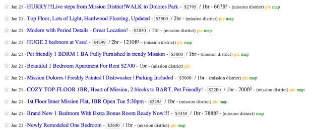 Screen shot from Craigslist. Jan. 22. 2014.