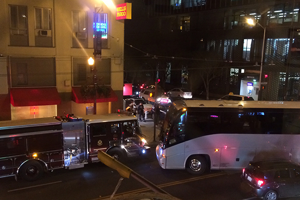 Commuter Bus Struggles onto Mission Street.