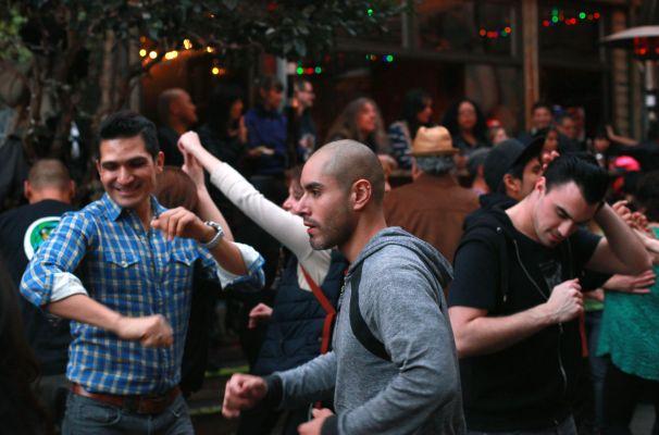 Partiers dance salsa at a benefit for Christina Olague at El Rio.
