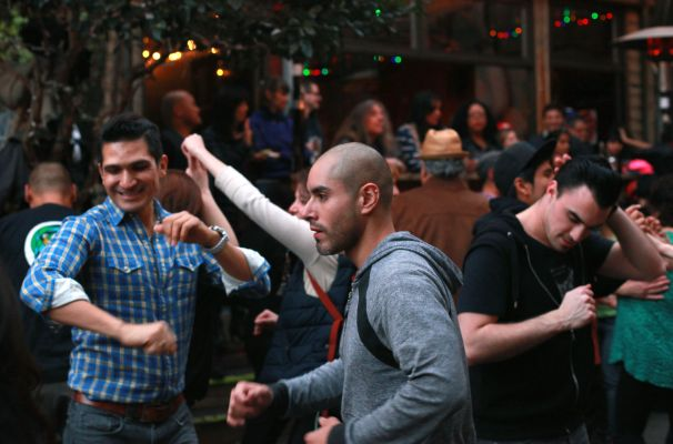 Partiers dance salsa at a benefit for Christina Olague at El Rio.