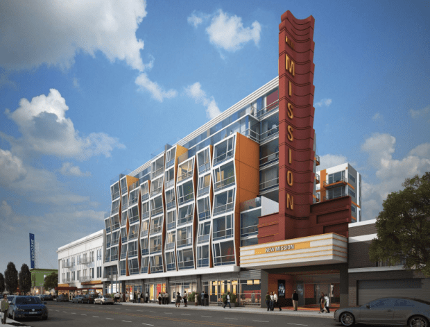 The prospective plans for the Vida Condos and New Mission Theater. Image courtesy of Oyster Development Group.
