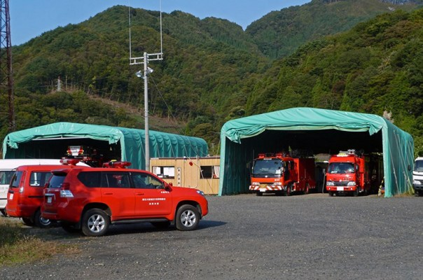 The nearby town of Kamaishi's Fire Department. Notice all the structures and vehicles are new. The previous equipment and structures were lost.