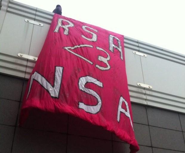 Banner at RSA Conference Via Code Pink