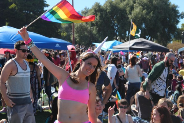 Julie Henry from France celebrated LGBT Pride Weekend during the Dyke March on Saturday. Photo by Leslie Nguyen-Okwu
