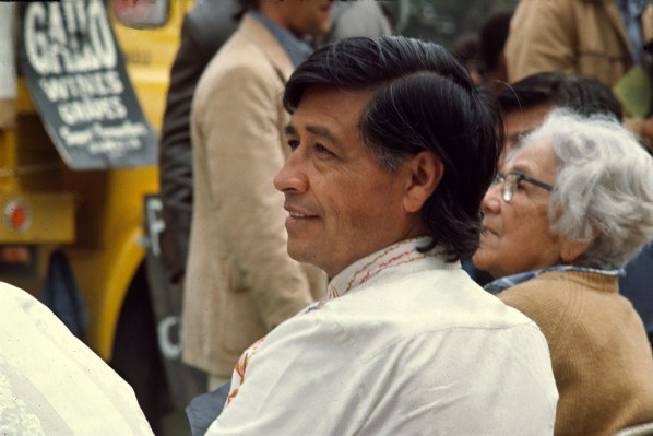 Lou Dematteis, United Farmworkers President Cesar Chavez with his mother at a Gallo Wine boycott rally.
