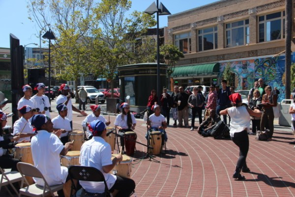 Some students had learned dancing along with the drums. Photo by Joe Rivano Barros.