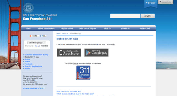 San Francisco 311 has a mobile app you can use to report things like graffiti, litter, potholes and abandoned vehicles.