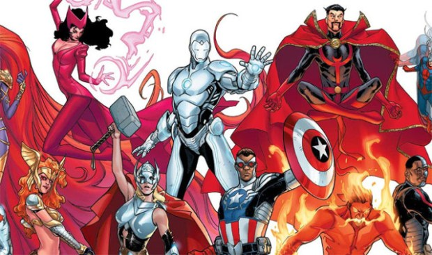 The new lineup of Marvel superheroes, including Iron Man in his new silvery armor. Photo courtesy of Marvel.