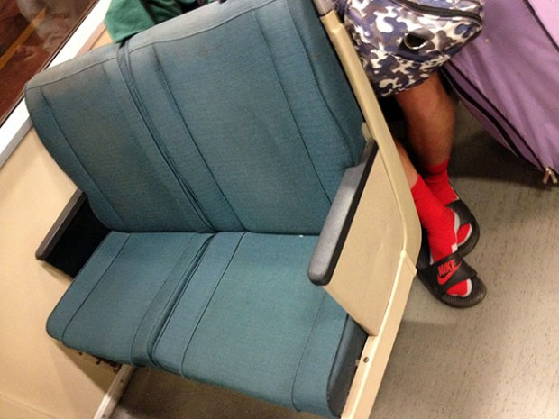 One of the remaining wool BART seats. Photo by Lydia Chavez.