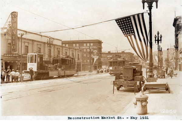 Reconstruction of Market Street, May 1931. Courtesy of SF Found
