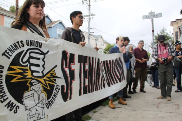 The San Francisco Tenants Union joined some 50 others to protest the eviction of 20 tenants by landlord Thomas Aquilina and his property manager German Maldonado. Photo by Joe Rivano Barros.