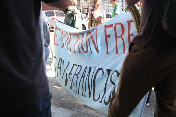The Eviction Free San Francisco sign seen at most anti-eviction marches. Photo by Andrea Valencia