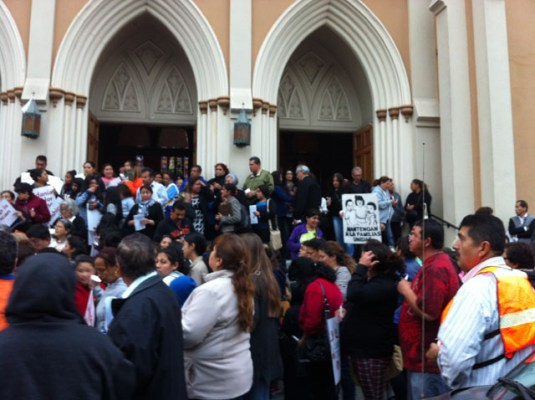 Around 350 people walked after a mass held at St. Peter's Church to call attention to immigration reform.