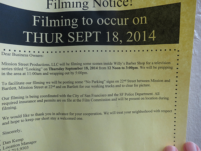 HBO's 'Looking' Filming at Willy's Barber Shop