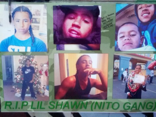 Photos of Rashawn Williams posted at the prayer circle following his death. Photo by Daniel Hirsch.