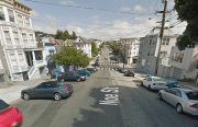 On the 500 Block of Noe Street, three cars were set on fire. Photo from Google Street View.