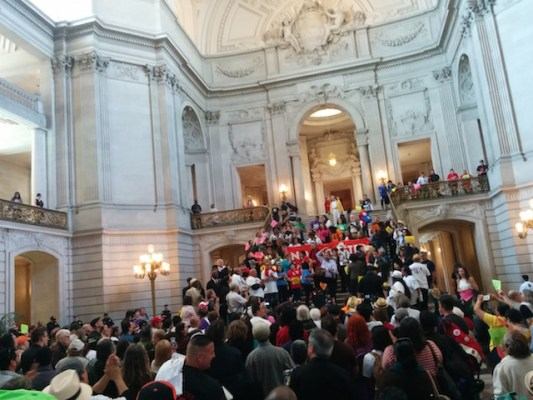 A protest for affordable housing at City Hall. Photo by Laura Wenus.