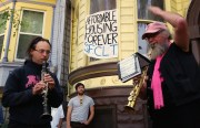 A band plays in front of the Pigeon Palace. Photo by Daniel Hirsch.