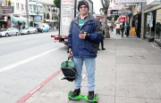 Bill Davey balances on his hoverboard at 19th and Mission streets. Photo by Laura Waxmann