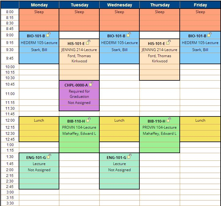 Schedule Planner \u2013 A new way to make your class schedule