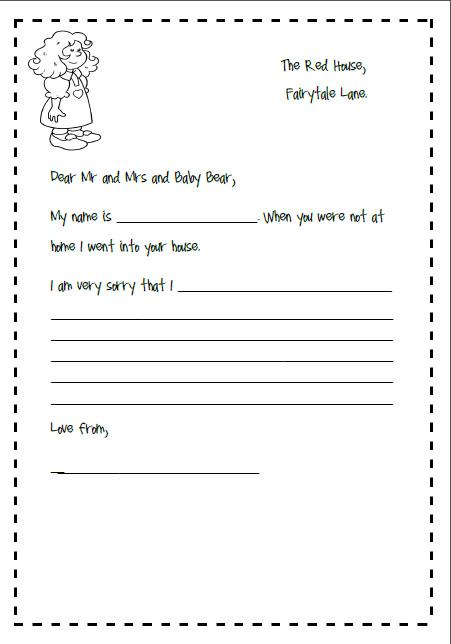 letter writing template for goldilocks and the 3 bears \u2013 missmernagh