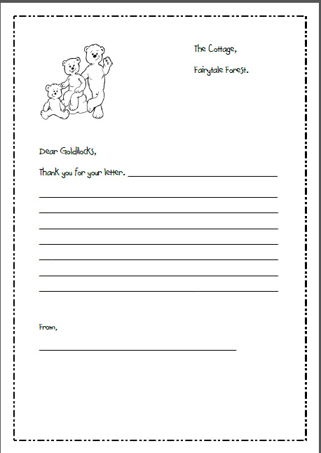 letter writing template for goldilocks and the 3 bears - letter writing template