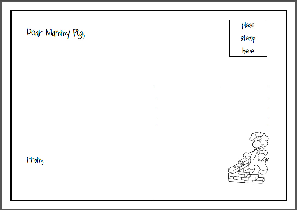 creative writing printables for kindergarten u2013 missmernagh - printable postcard template free