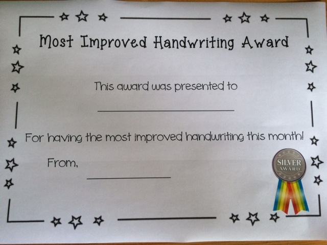 Handwriting Awards Certificate with Prim-Ed Merit Stickers - merit certificate comments
