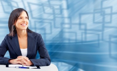 business woman smiling about internship