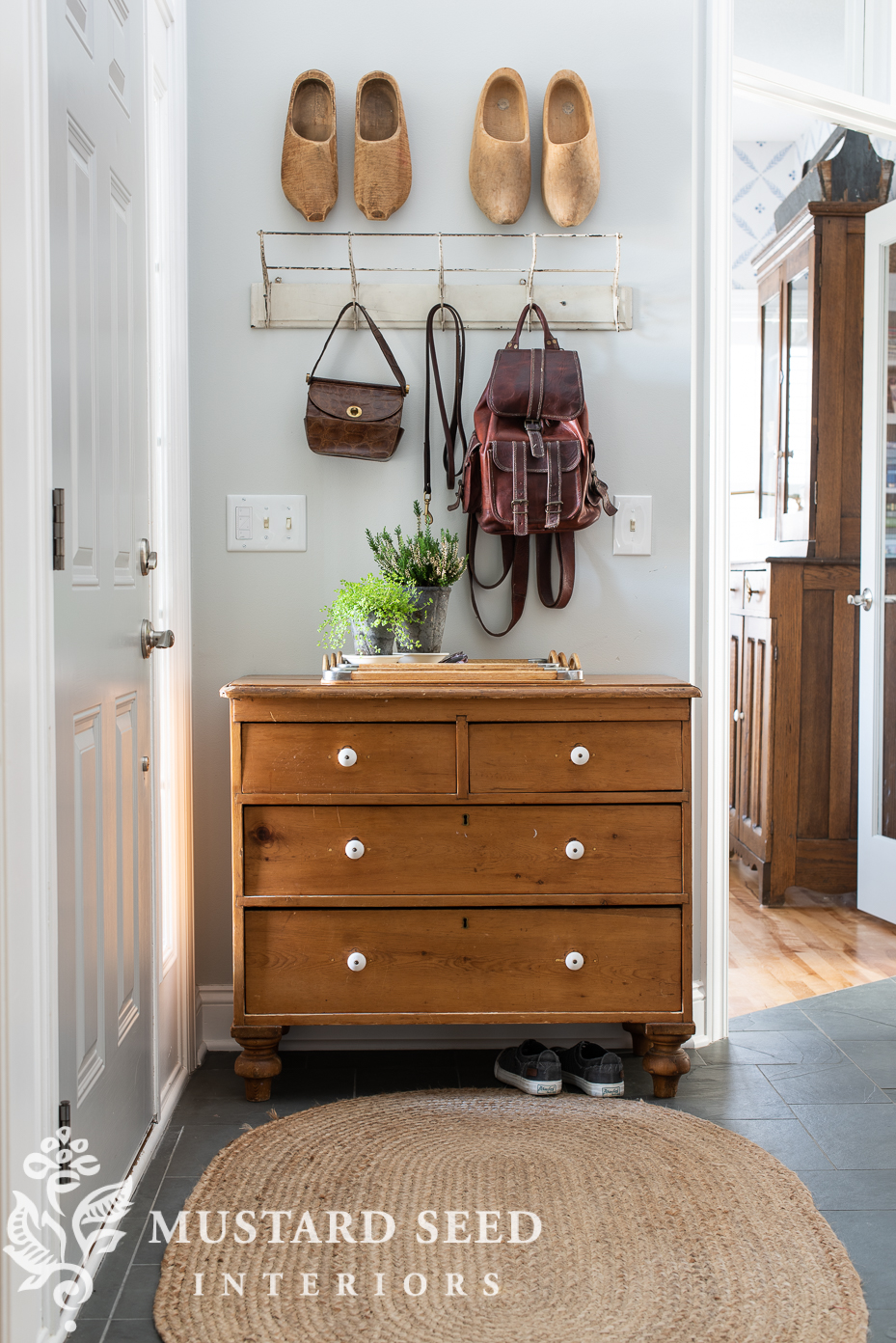 Antique Pine Chest In The Foyer Miss Mustard Seed