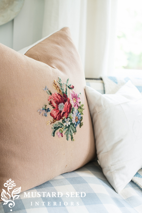 needlepoint pillow | buffalo check