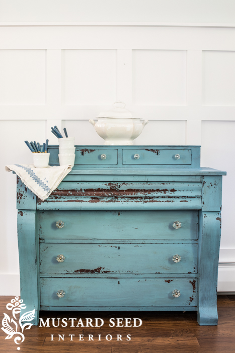 Blue milk paint dresser - missmustardseed.com
