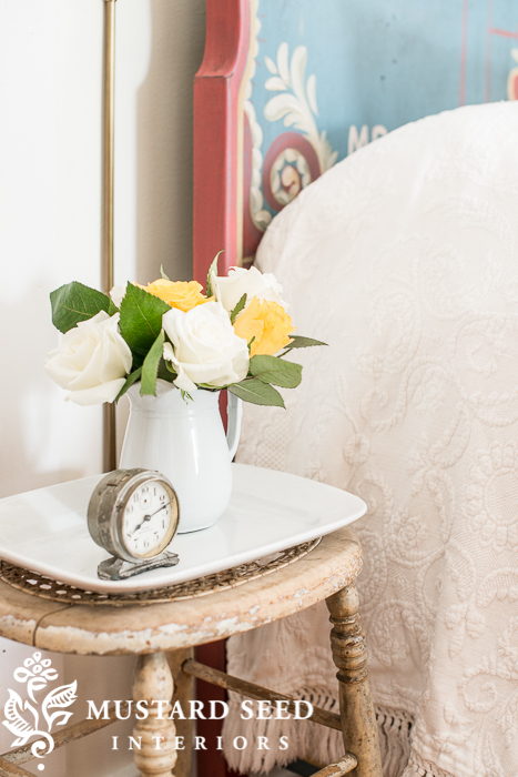 antique stool + ironstone platter = side table for small space | miss mustard seed's guest room