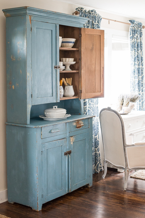 primitive milk painted hutch | miss mustard seed