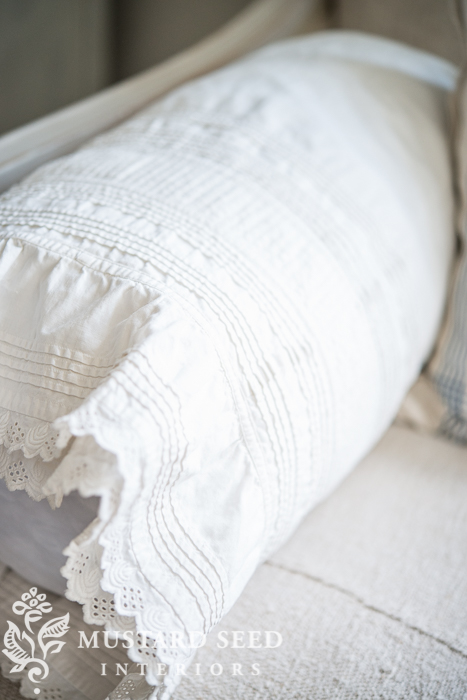 repurposing a petticoat as a bolster cover | miss mustard seed