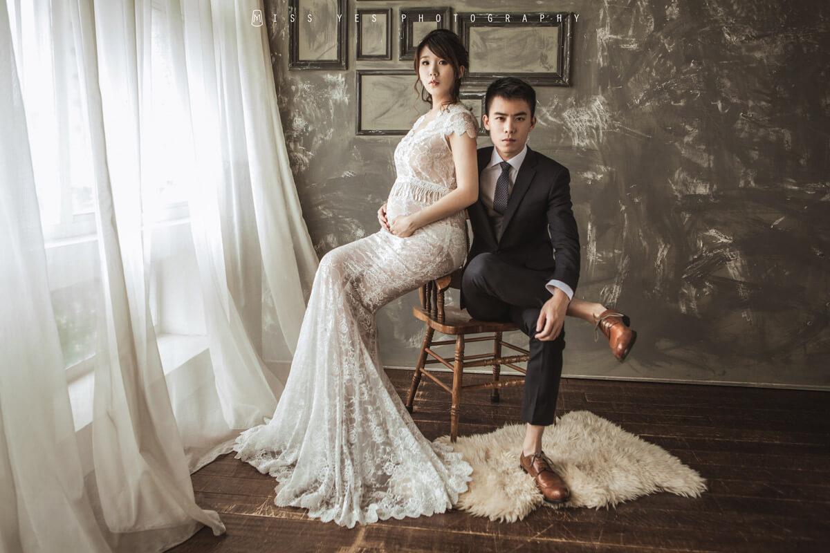 孕婦寫真,女攝影師,孕媽咪,結婚,禮服