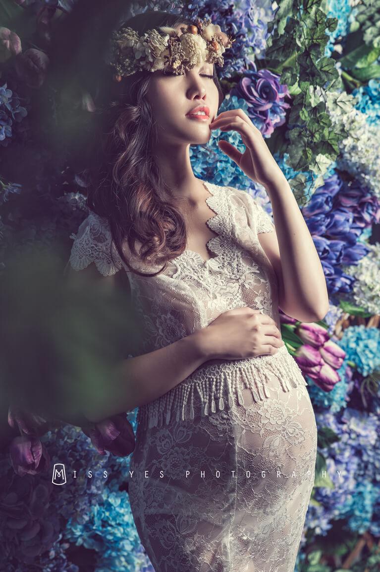 孕婦寫真,女攝影師,孕媽咪,孕婦禮服,花牆
