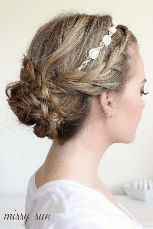 braided updo and flower crown