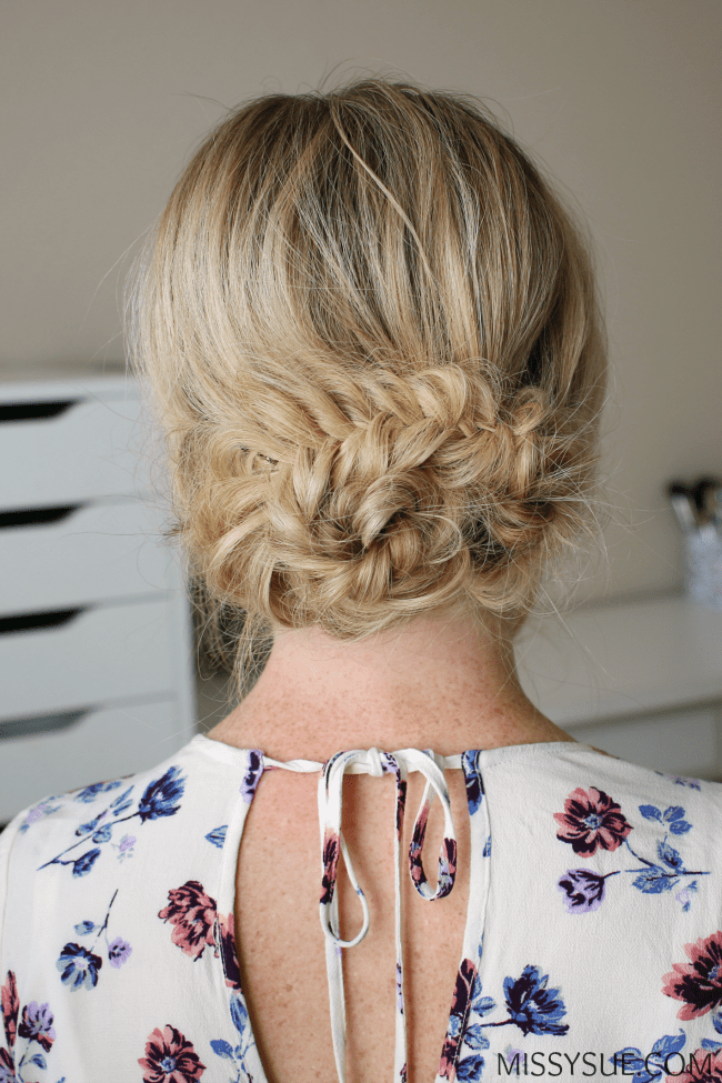 braided-fishtail-low-bun-hairstyle