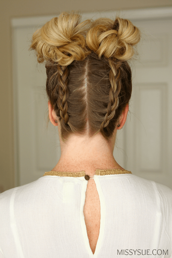 dutch-braids-double-high-buns-hairstyle