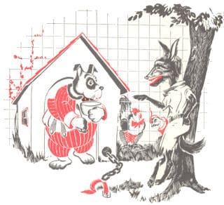 El lobo y el perro del granjero