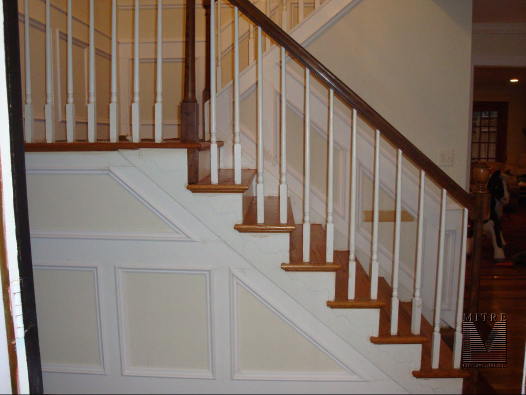 Paneled Staircase Wainscoting Mitre Contracting Inc