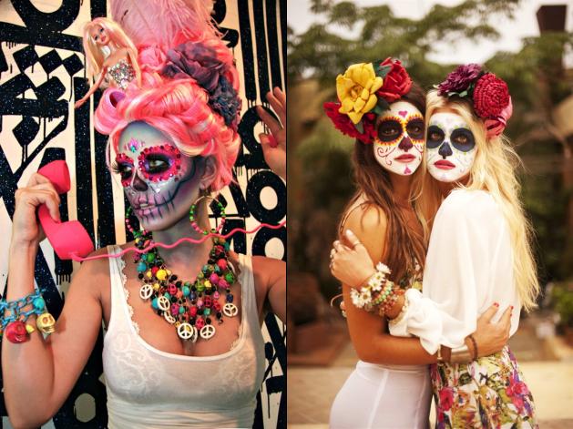 Maquiagem fantasia caveira mexicana 'alegre'