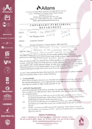 Jan 2003 Music contract for Mx Jones