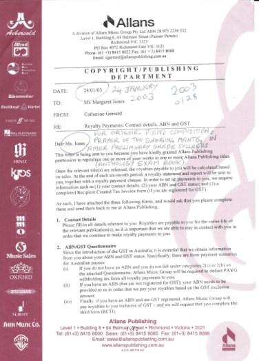 Jan 2003 Music contract for Mx Jones