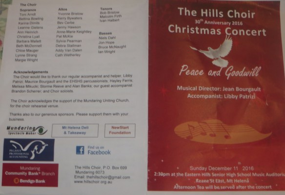 Hills Choir concert programme for 11 December 2016.