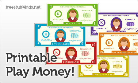 FREE Printable Play Money and Printable Play Checks