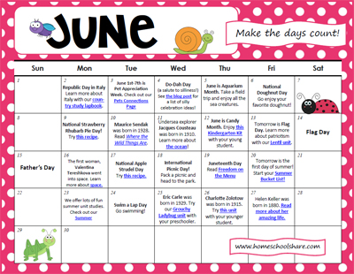Making the Days of June Count Activity Calendar