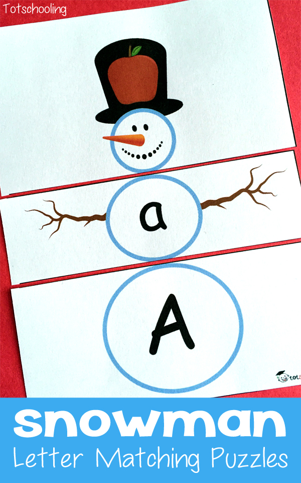 FREE Printable Snowman Letter Matching Puzzles